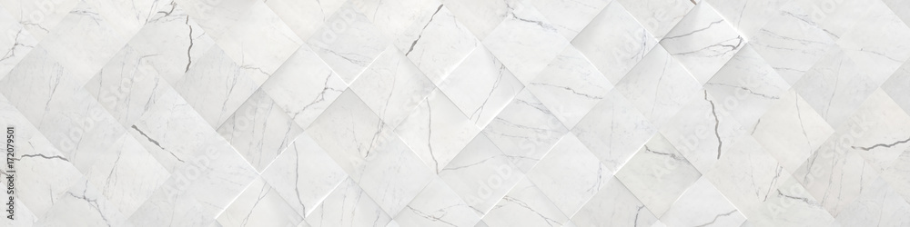 Fototapeta White Wide Marble Background (3d illustration)