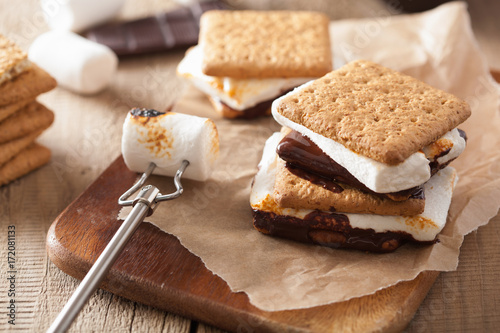 Foto op Plexiglas Dessert homemade marshmallow s'mores with chocolate on crackers