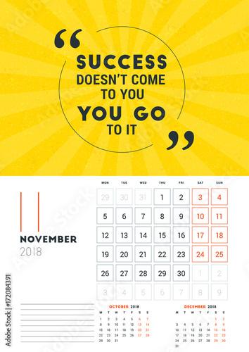Wall Calendar Template For November 2018 Vector Design Print