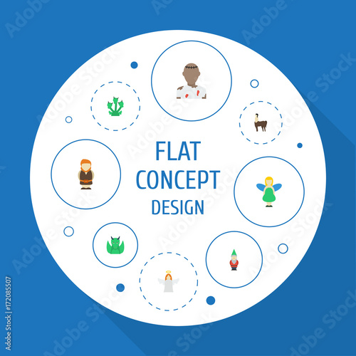 Flat Icons Flying, Gnome, Huge Man And Other Vector Elements  Set Of