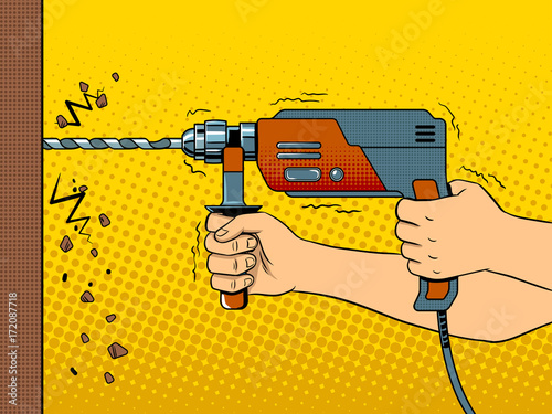 Valokuva  Hands drilling wall with rock drill pop art vector