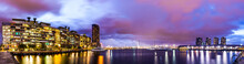 Panorama View Of A Beautiful View Of Docklands And The Bolte Bridge With A Cloudy Sky And Twilight In Melbourne Australia.