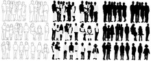 Vector, Isolated Black Silhouette People Collection