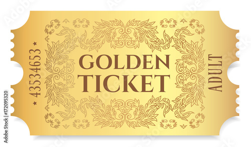 Fotografie, Obraz  Gold ticket, golden token (tear-off ticket, coupon) isolated on white background