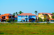 Bright Colors. Blue House Near The Beach In Benaulim, South Goa, India. Big Mansion.