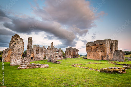 Türaufkleber Ruinen Egglestone Abbey Ruins / The remains of Egglestone Abbey on the banks of River Tees, near Barnard Castle in County Durham