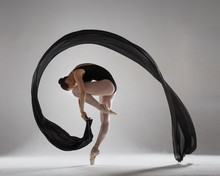 Graceful Ballerina With A Black Veil