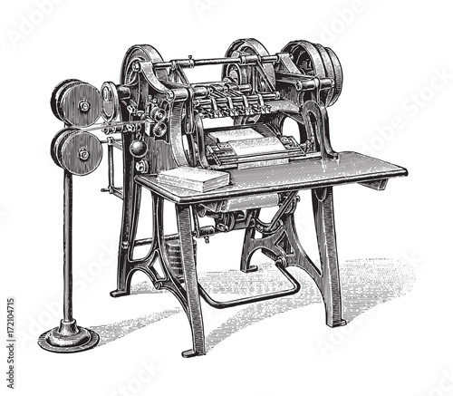 Fotografie, Obraz  Bookbinding machine - vintage illustration
