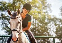 Woman Riding A Horse On Paddock, Horsewoman Sport Wear