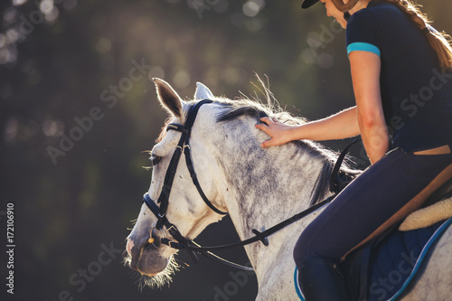 Photographie Woman riding a horse on paddock, horsewoman sport wear