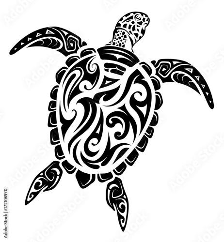 Obraz na plátně Maori style turtle tattoo