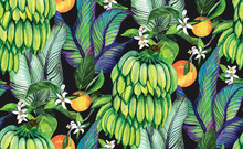 Tropical  Seamless Watercolor Pattern