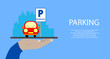 Hand holds a tablet with Parking service mobile app. Concepts for Searching nearest Parking. flat illustration.