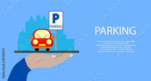 Staande foto Cartoon cars Hand holds a tablet with Parking service mobile app. Concepts for Searching nearest Parking. flat illustration.