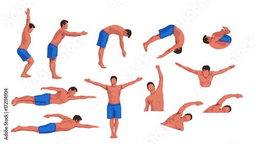 Fototapeta swimming man set obraz