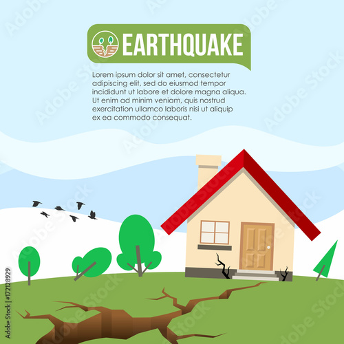 Earthquake Disaster with Ground crevice and House crack