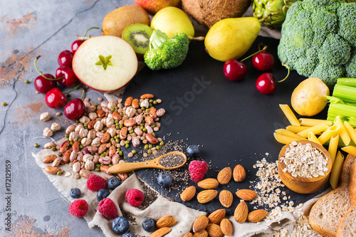 Fotobehang Assortiment Selection of healthy rich fiber sources vegan food for cooking