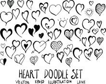 Set Of Heart Doodle Illustrati...