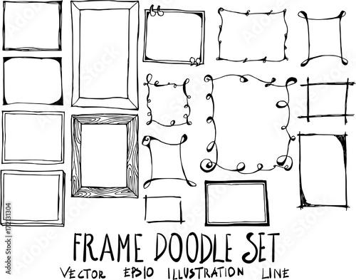 Set of Frame doodle illustration Hand drawn Sketch line vector eps10 Wall mural