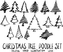 Set Of Christmas Tree Doodle Illustration Hand Drawn Sketch Line Vector Eps10