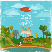 Colored Cartoon Zoo Illustration On Vintage Shabby Background With Sign