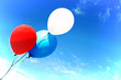 canvas print picture - colorful balloons fly agnst a blue sky