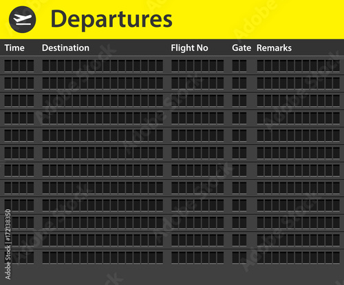 An empty airport timetable Fototapeta
