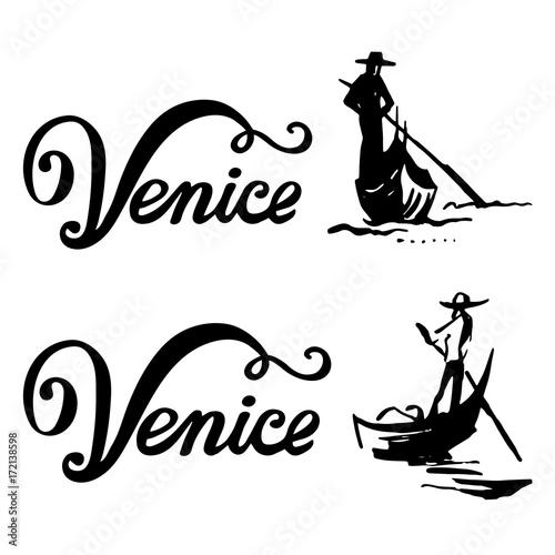 Canvas Print Venice gondola, gondolier rowing oar sign