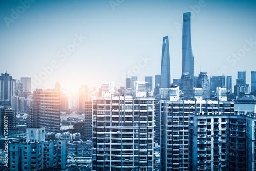 Shanghai city view, with oriental pearl tower, landmark of Shanghai, beside huan Poster