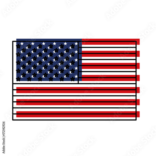 Fototapeta flag united states of america flat colorful watercolor silhouette vector illustration obraz na płótnie