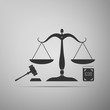 Symbol of law and justice. Concept law. Scales of justice, gavel and book icon isolated on grey background. Legal law and auction symbol. Flat design. Vector Illustration