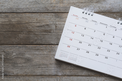 close up of calendar on the table Canvas Print