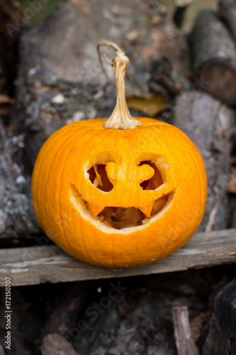 halloween themes autumn halloween jack o lantern on autumn wooden