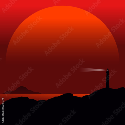Keuken foto achterwand Bruin seascape with lighthouse, minimal vector background