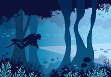 Scuba Diver, Underwater Cave, ...