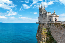Castle Swallow's Nest On Sea Rock In Crimea, Russia. Landscape In Summer.