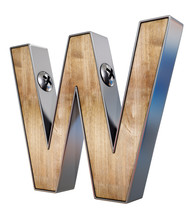 """3D """"W"""" Letter Made Of Wood And Metal, 3d Rendering"""