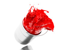 3d Red Paint Splashing Out Of ...