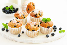 Oat Muffins With Blueberries On A Dark Background.