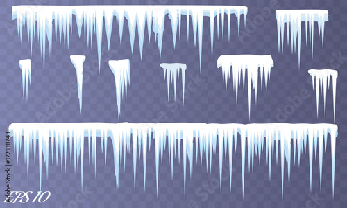 Fototapeta Set of white snow design element on blue background