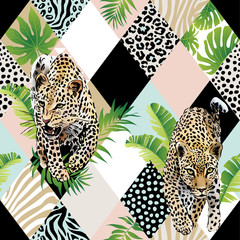Fototapeta Zwierzęta Tropical palm leaves and exotic leopard background. Seamless vector pattern with jungle leaves in trendy style.