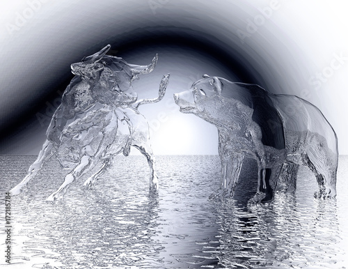 Fotografia  Digital 3D Illustration of a Bull and Bear Relief