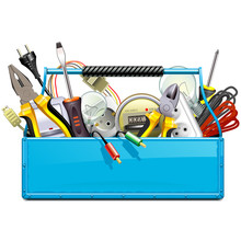 Vector Blue Toolbox With Elect...