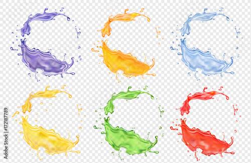 Obraz na plátně Fruit juice set, transparent realistic colored splashes vector icon