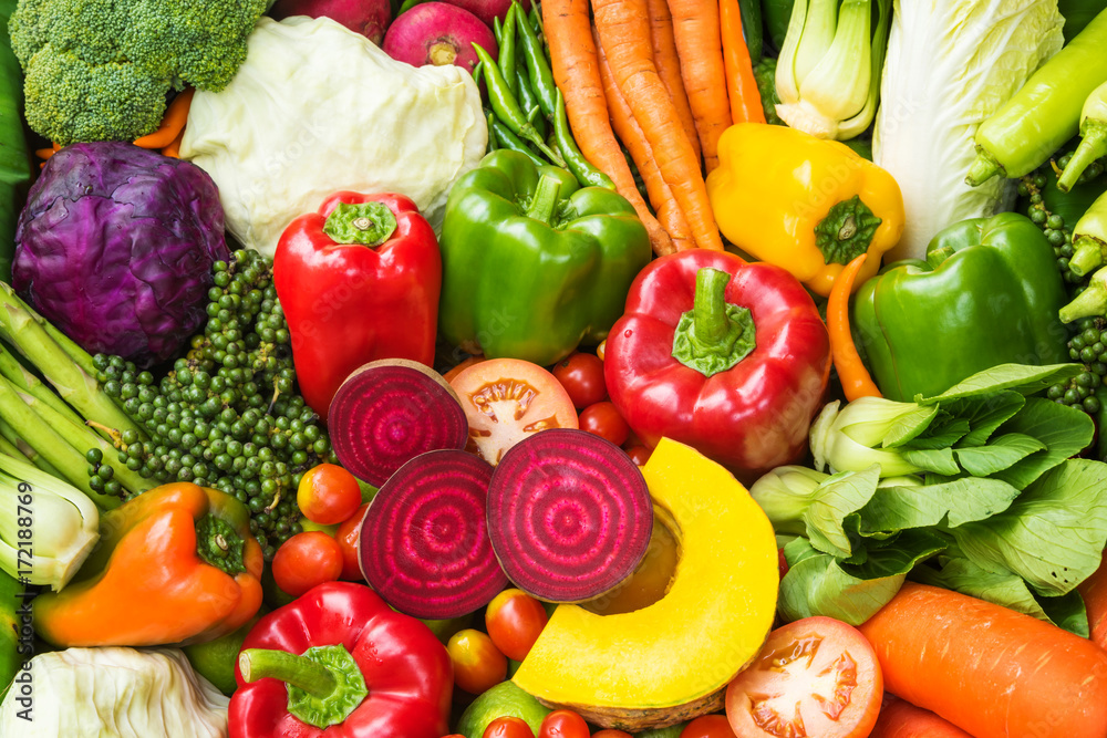 Different fresh vegetables for eating healthy