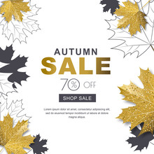 Autumn Sale Banner With 3d Style Gold And Outline Maple Autumn Leaves. Vector Fall Poster Golden Background. Layout For Discount Labels, Flyers And Shopping.
