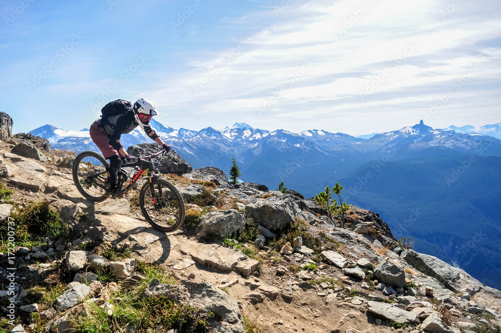 Fototapeta Mountain biking in Whistler, British Columbia Canada - Top of the world trail in the Whistler mountain bike park - September 2017