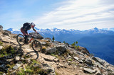 Mountain biking in Whistler, British Columbia Canada - Top of the world trail in the Whistler mountain bike park - September 2017