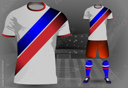 257a24ac2be0 eps 10 vector football player 3d uniform design concept with Russian flag  color stripes on black
