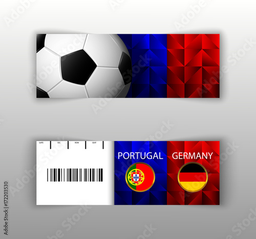 eps 10 vector football ticket layout template set with barcode